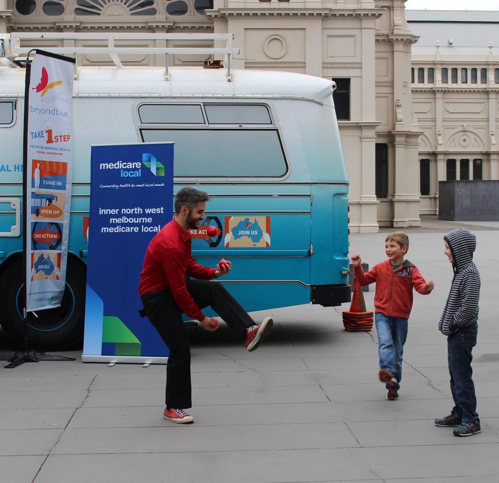 Juggling fun at Melbourne Museum.