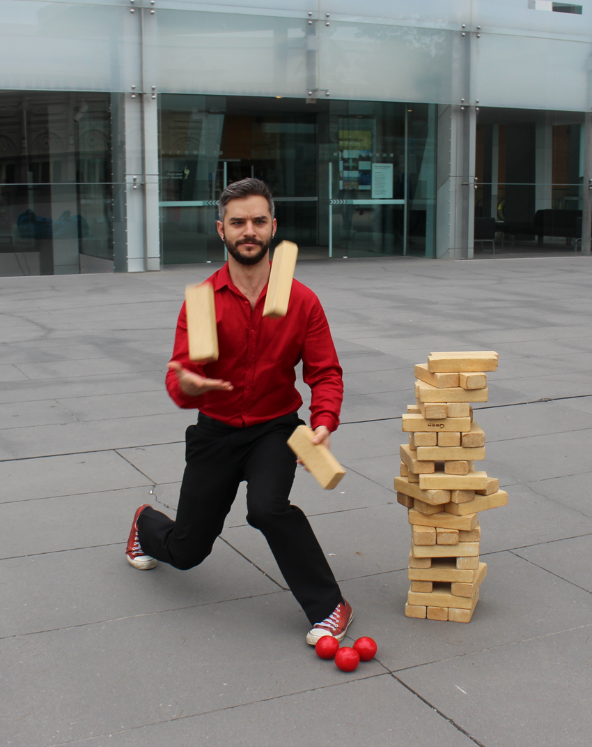A new way to play giant jenga was discovered at Melbourne Museum!
