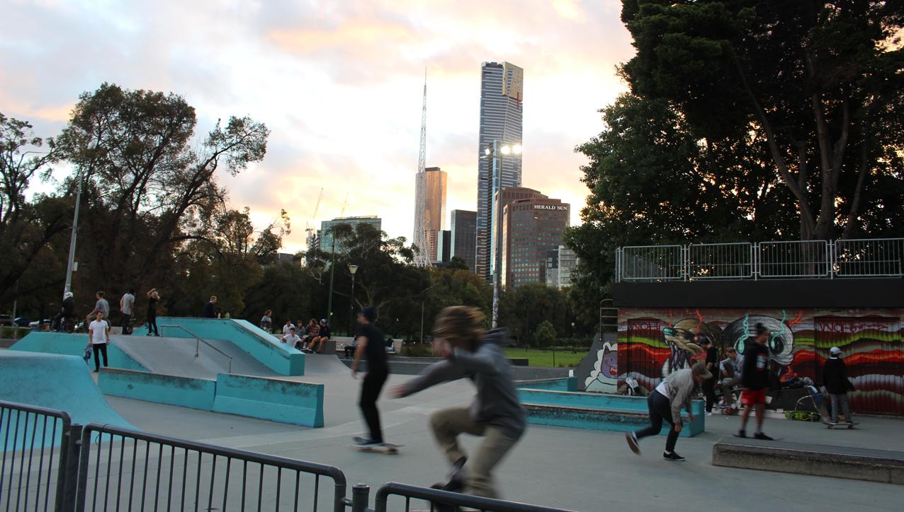 At Riverslide Skate Park on the Yarra.