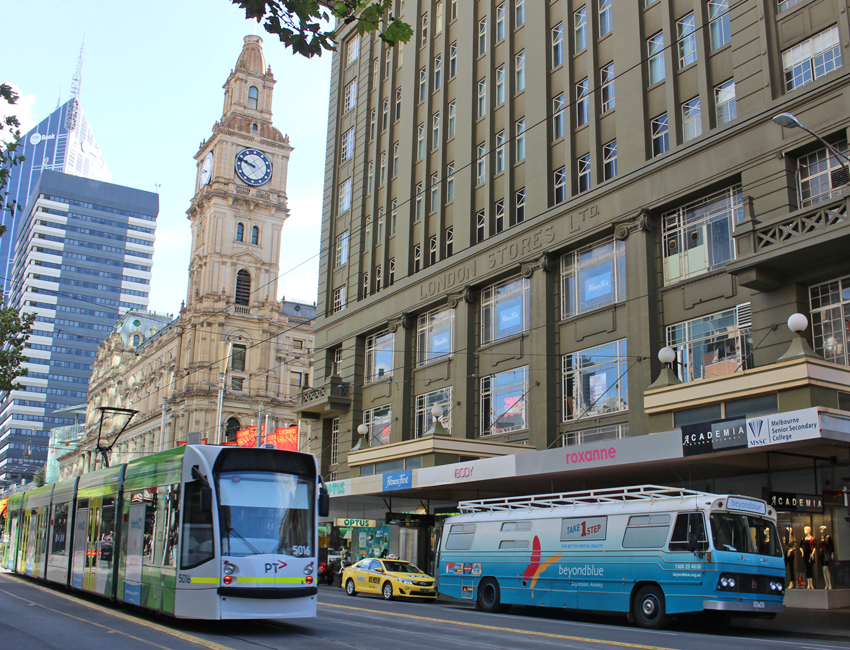 The bus parked on Elizabeth Street near the GPO building in Melbourne.