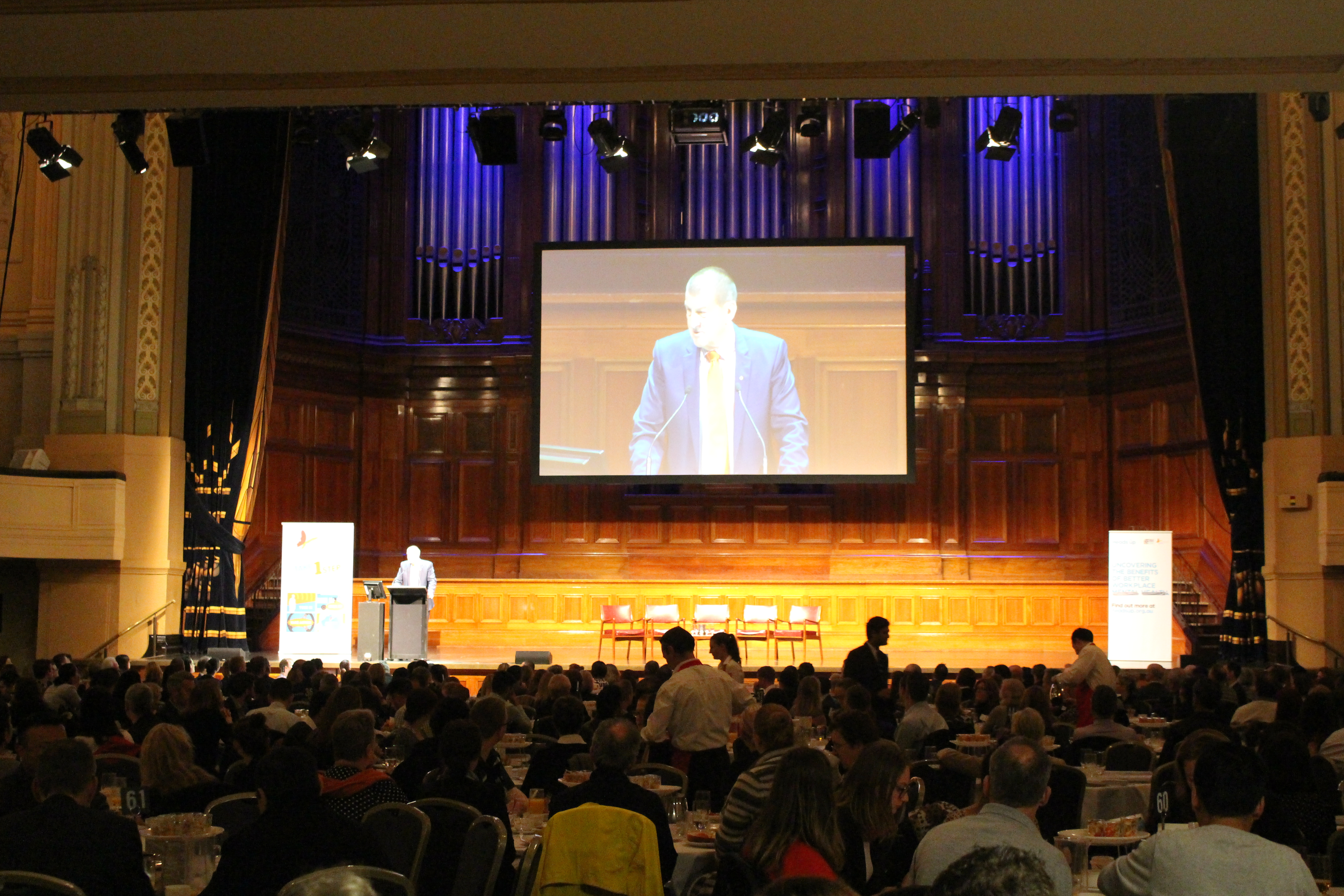 Beyond Blue Chairman Jeff Kennett talks about the importance of looking after mental health in the workplace at Melbourne Town Hall.