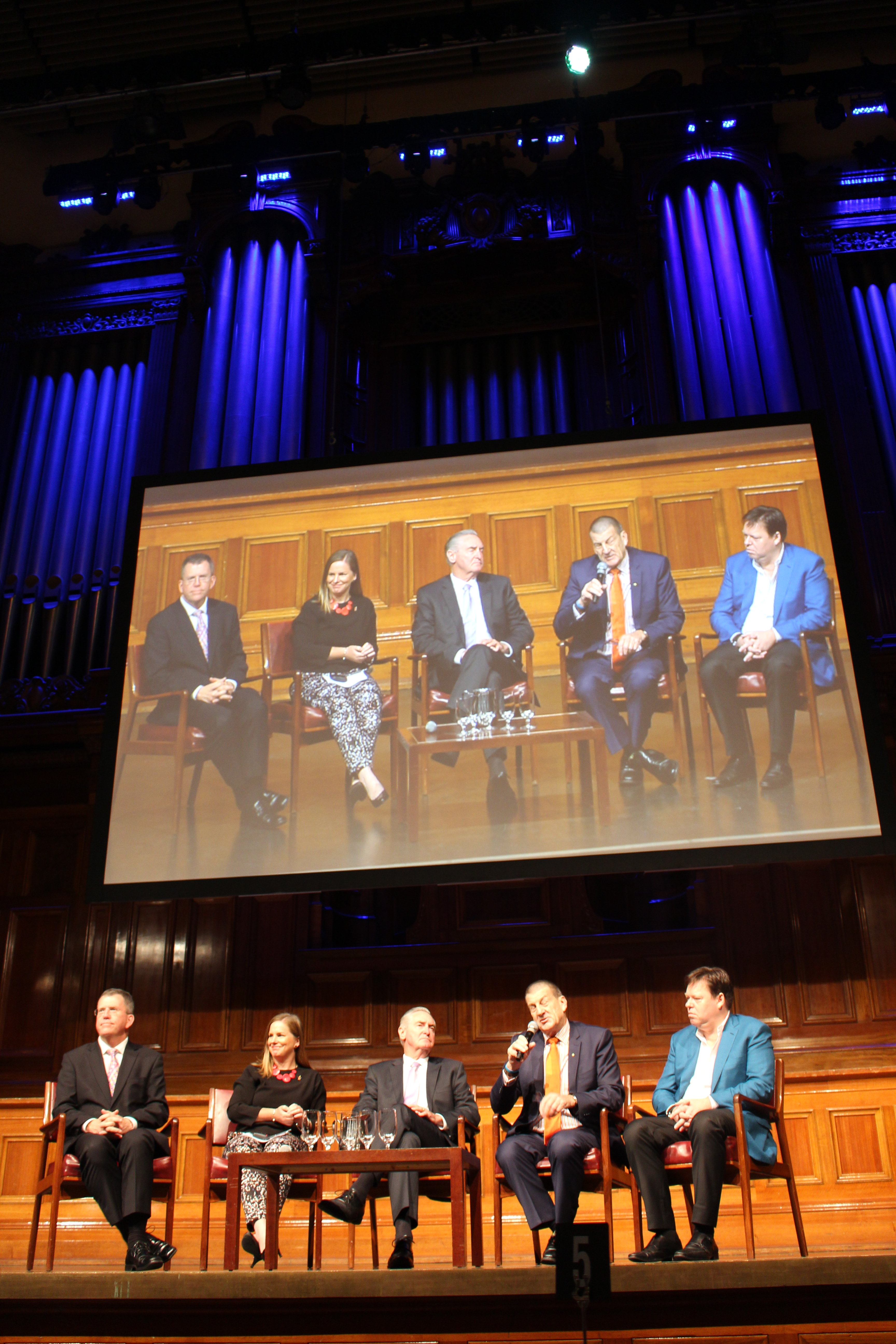 Q&A time at Melbourne Town Hall following the Heads Up workplace breakfast.