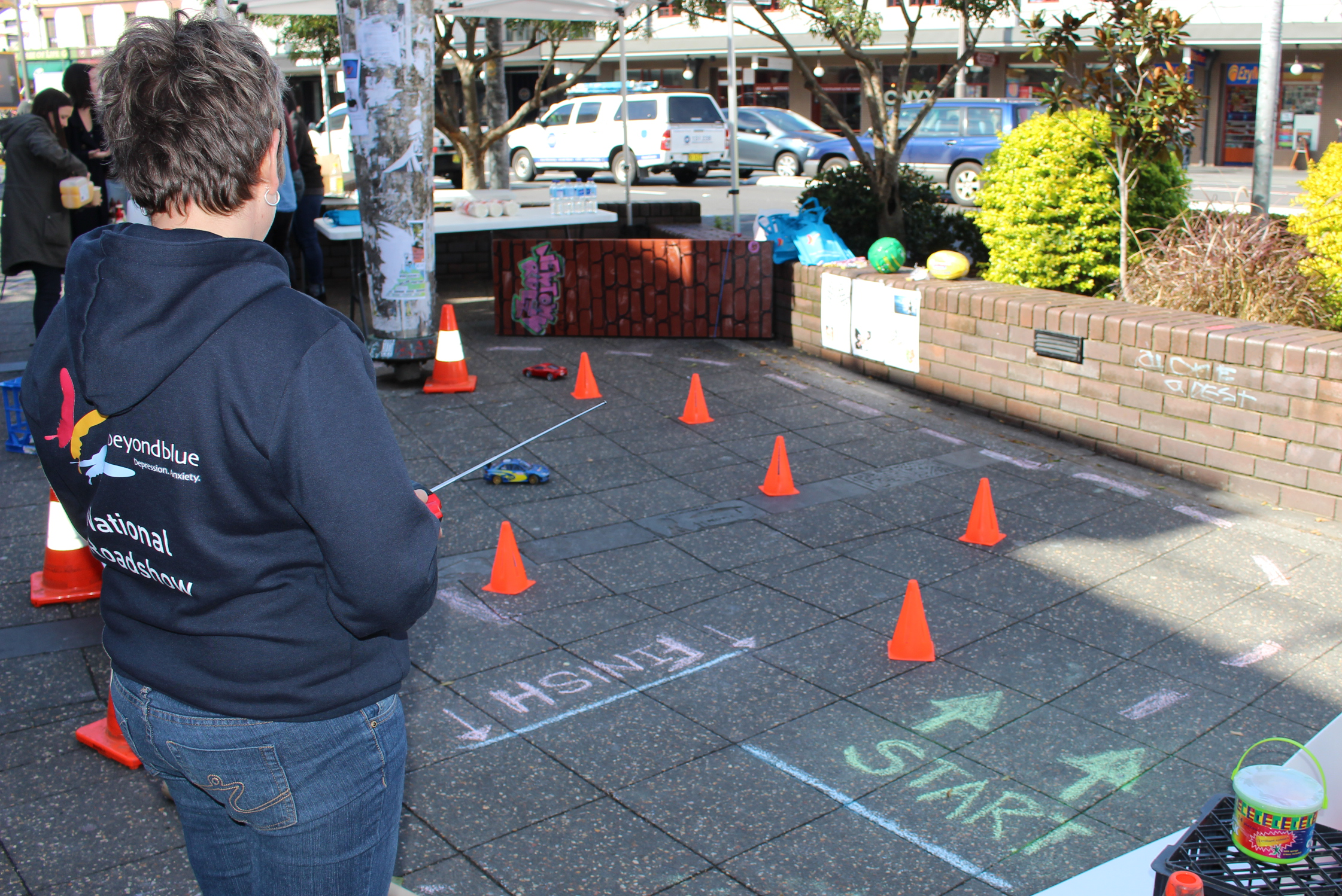 Beyond Blue's Stef takes on the remote control car racing course in Newtown.
