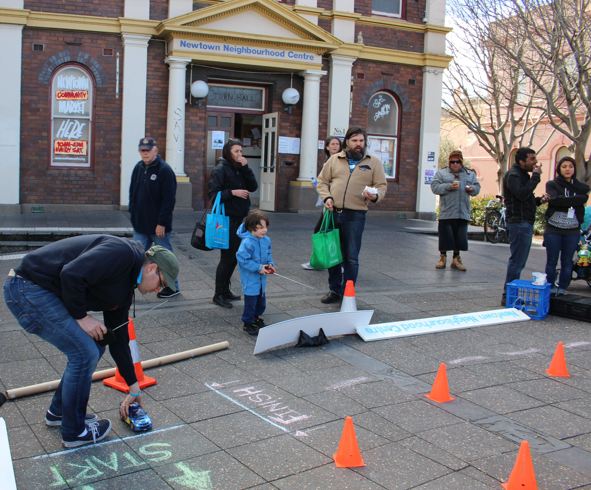 Remote control car racing in Newtown.