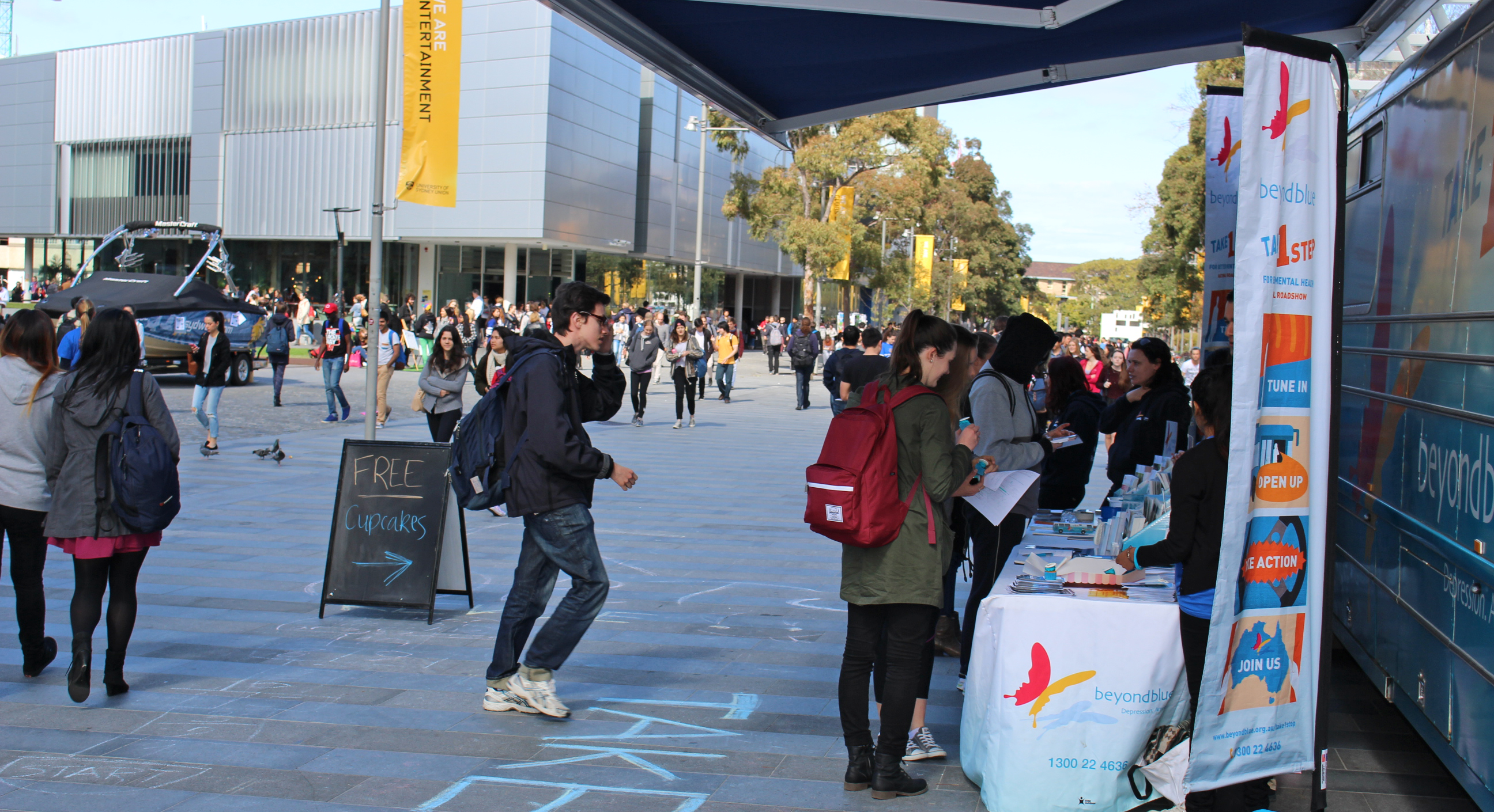 Hundreds of students stopped by the bus at The University of Sydney.