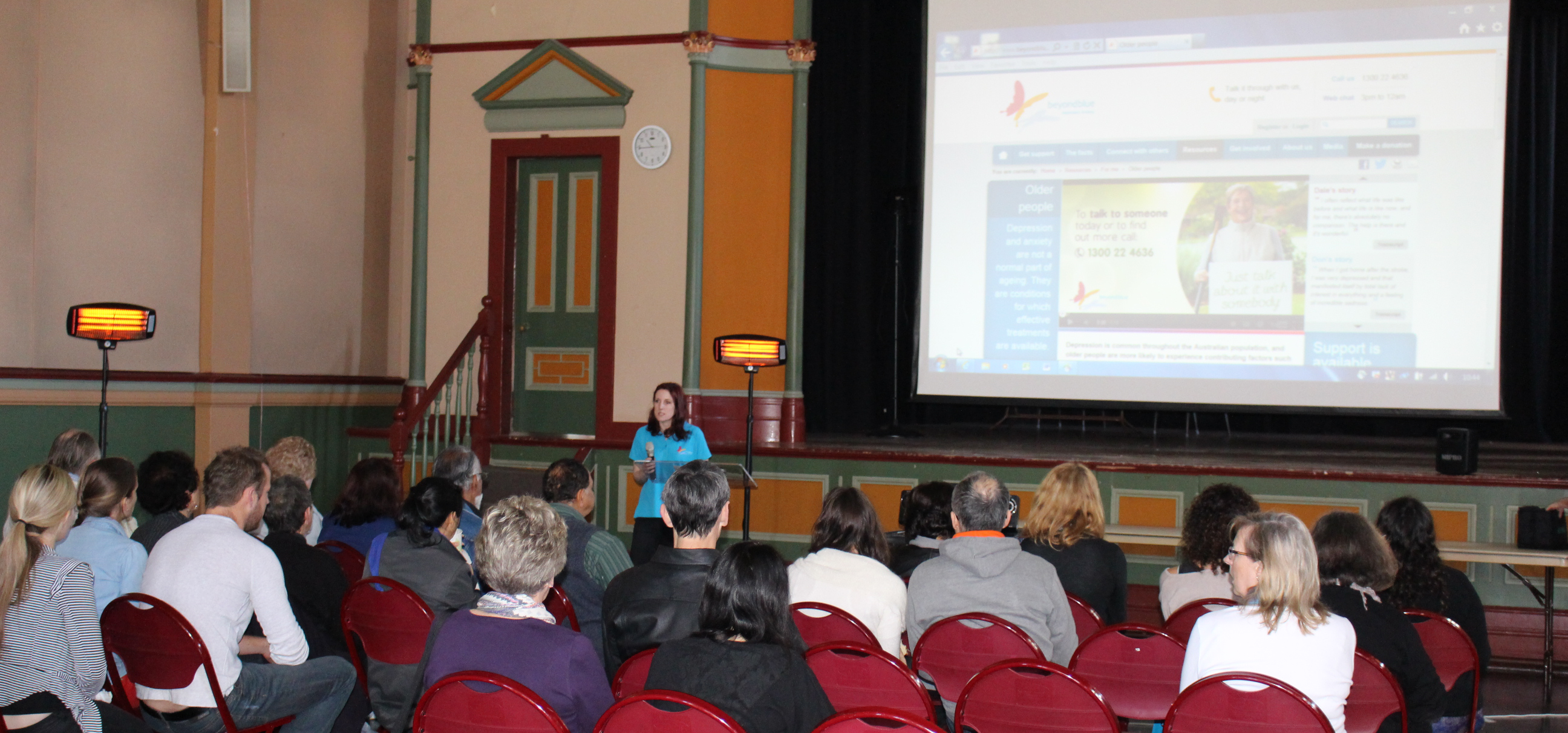 Beyond Blue's Catherine talks about mental health and ageing at Leichhardt Town Hall.