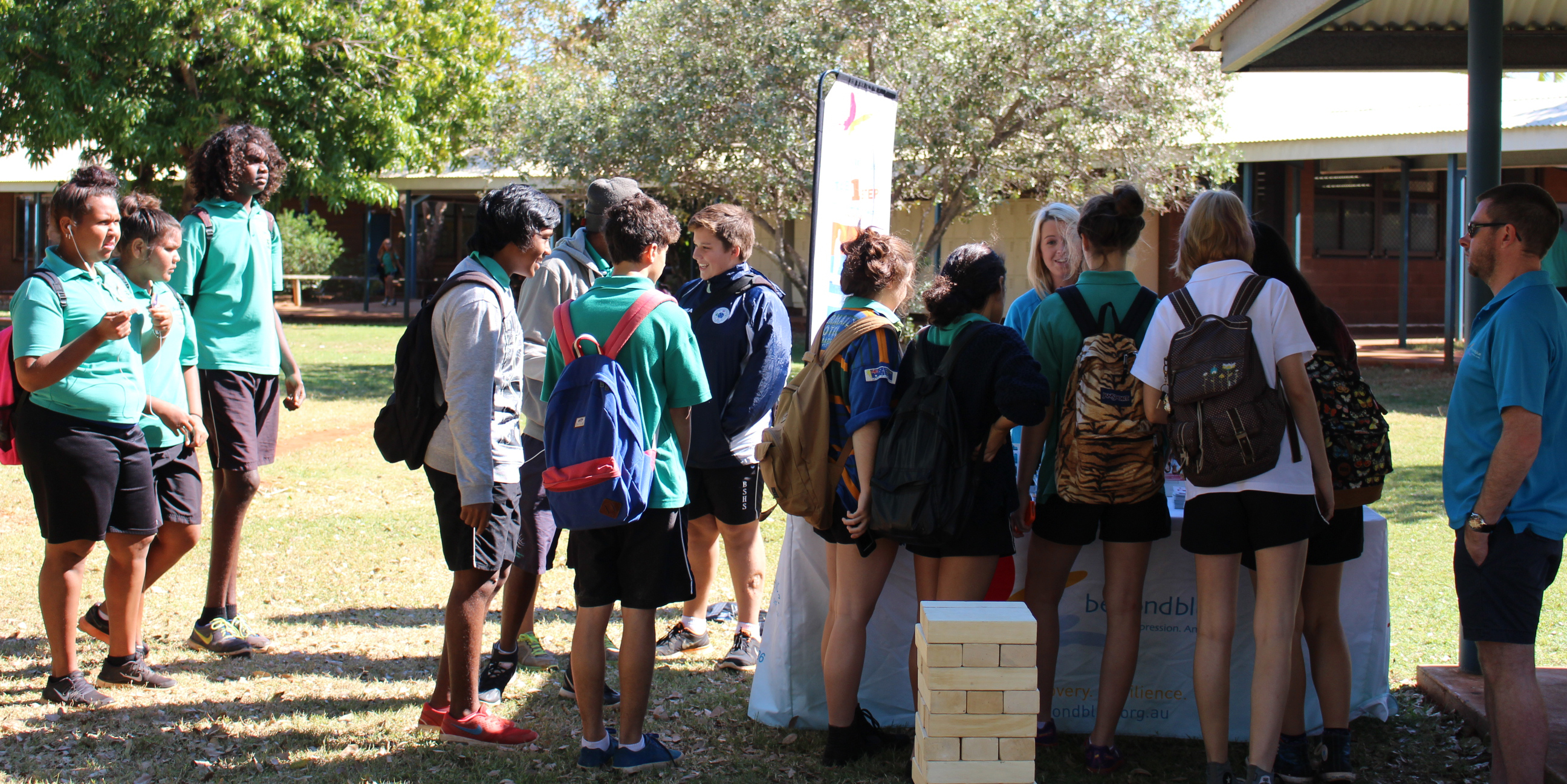 Chatting with students in Broome.