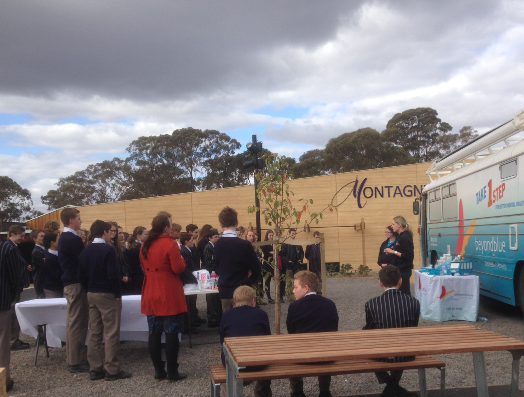 Chatting to students at Marist College in Bendigo.