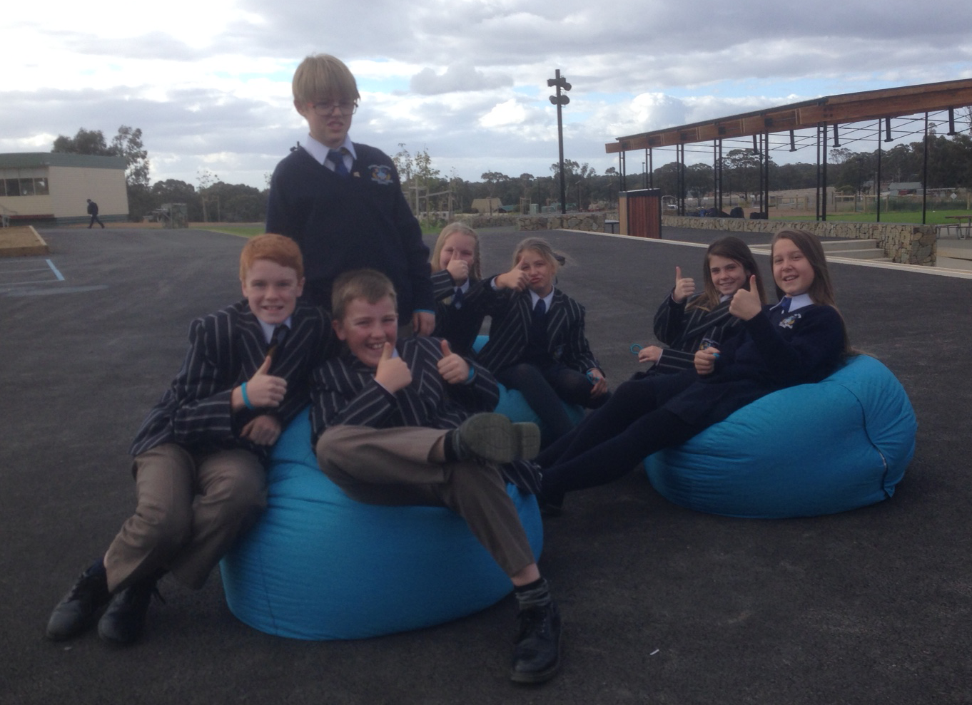 Thumbs up for the blue beanbags at Marist College Bendigo!