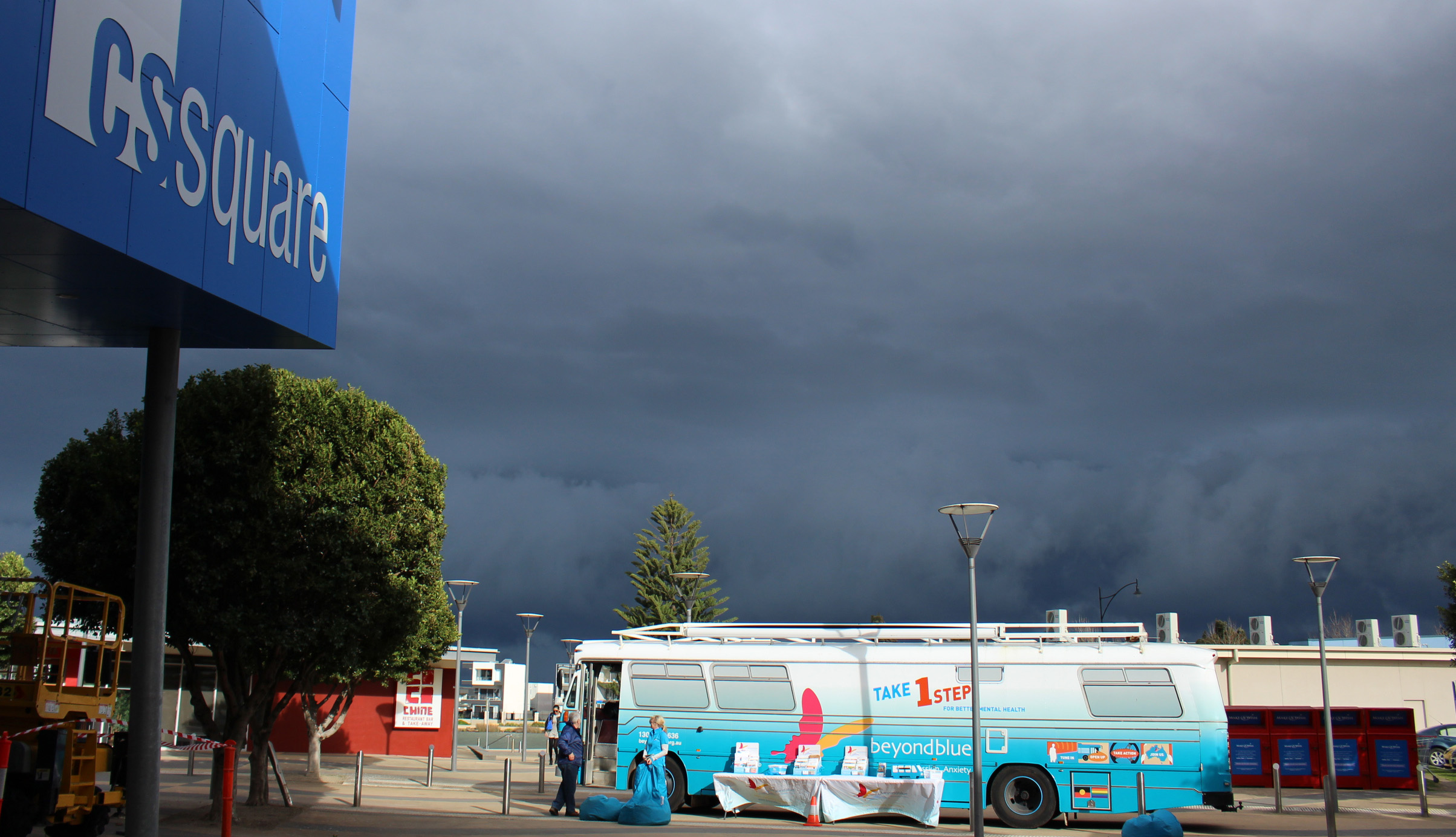 The storm clouds approach over Caroline Springs.
