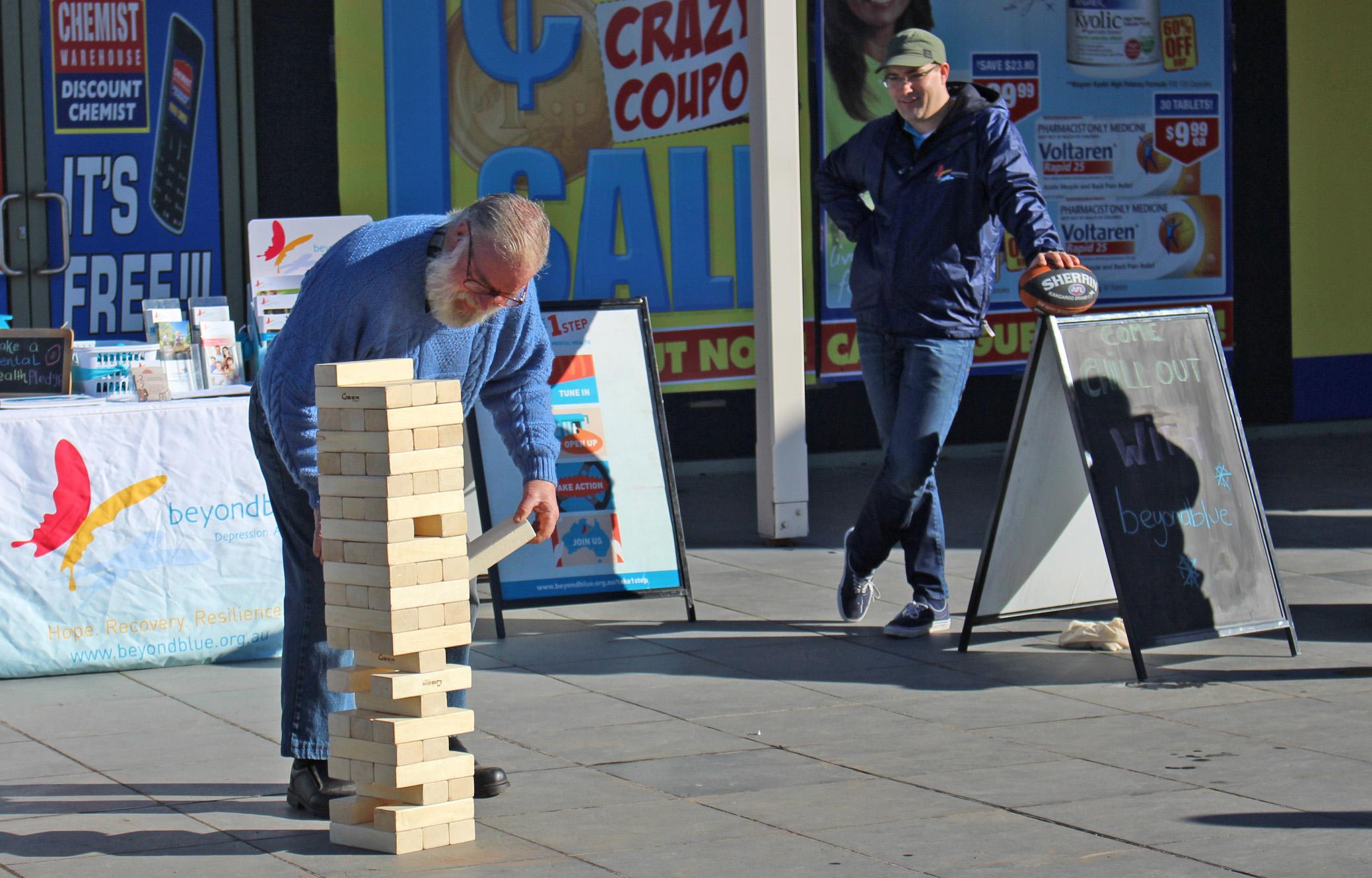 Giant jenga gets underway in Gisborne.