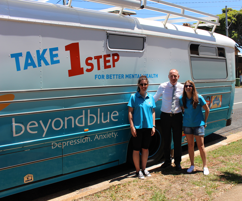 Federal Member for Petrie Luke Howarth visited the bus in Redcliffe.