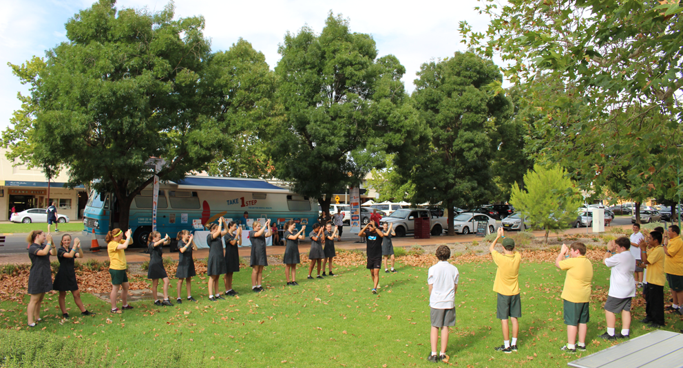 Griffith High School students started the day with a Zumba lesson in Memorial Park.
