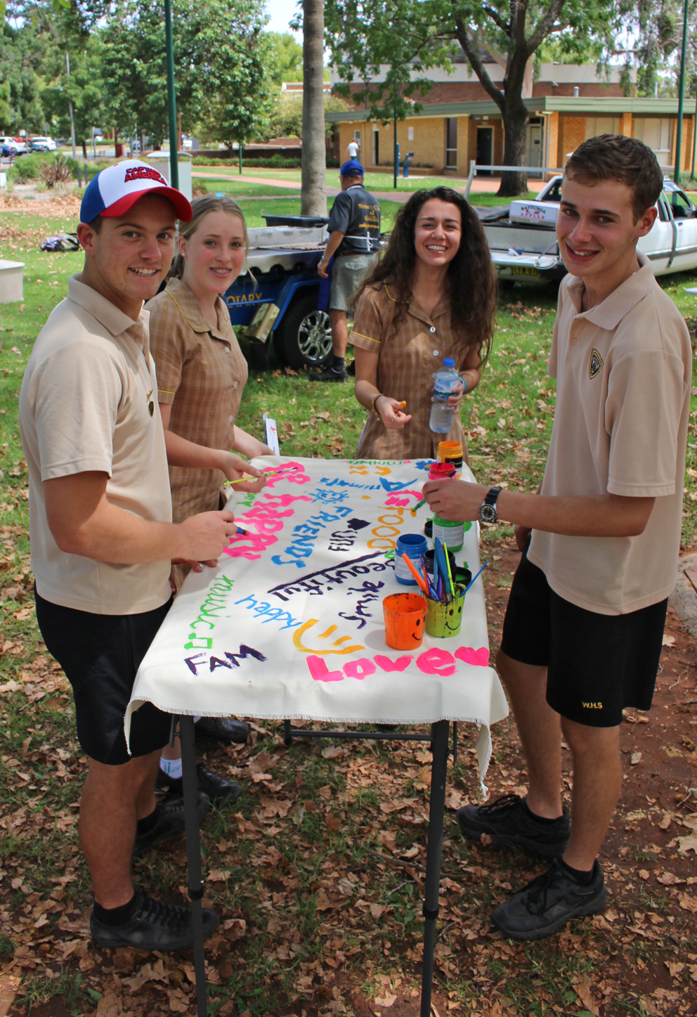 High school students in Griffith put on canvas the things that help keep them well.
