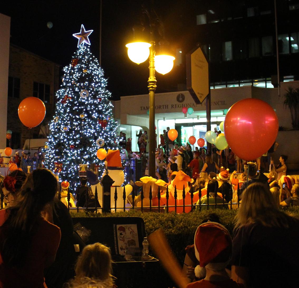 Tamworth's community Christmas tree lights up.