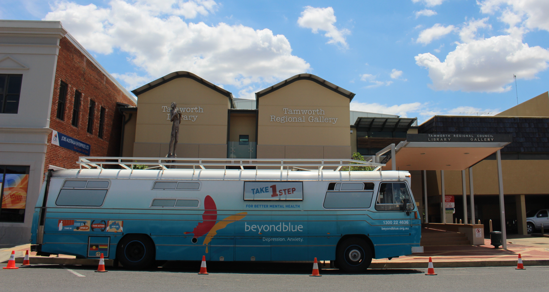 All set to chat with locals out the front of Tamworth Library.