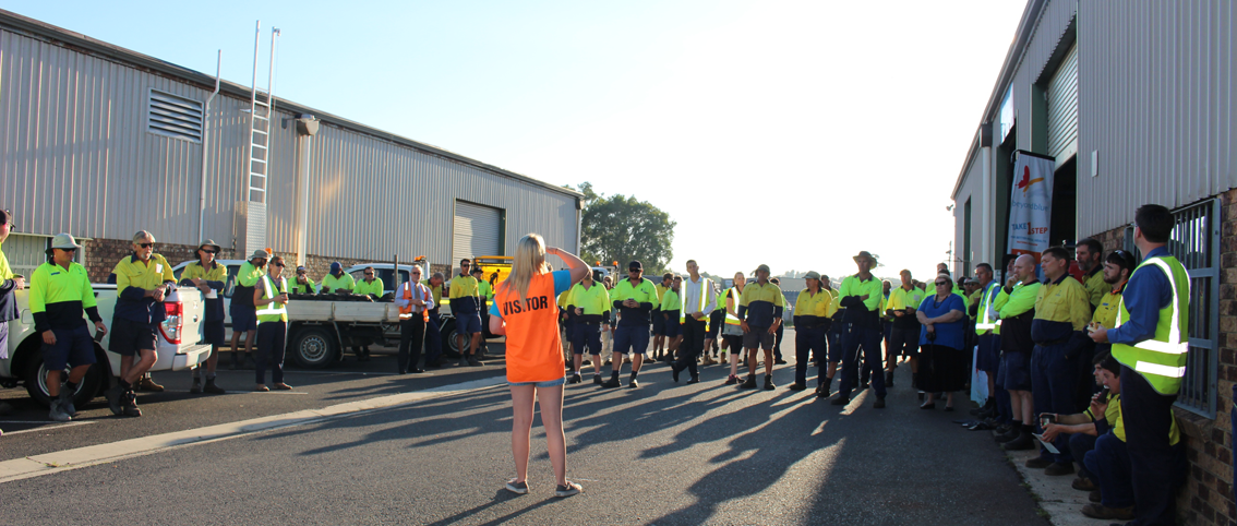 Beyond Blue's Bron speaks to council workers in Ballina.