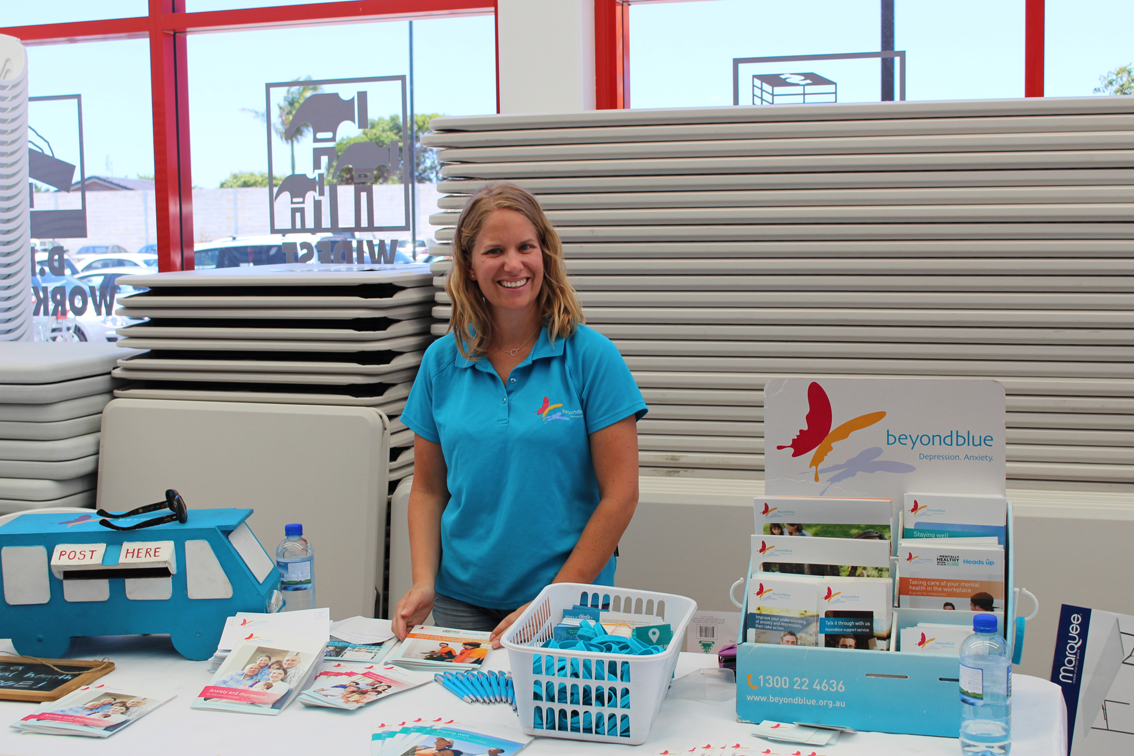 Beyond Blue's Sarah all set at Bunnings Ballina.
