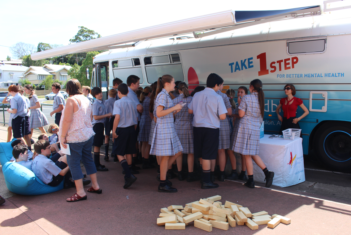 Students from Trinity Catholic College in Lismore visited the bus.