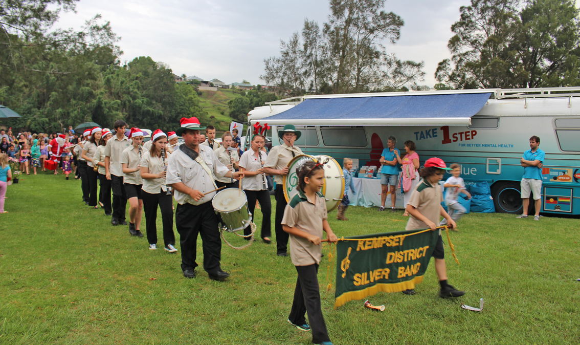 The town band entertains at Kempsey Twilight Riverside Market.