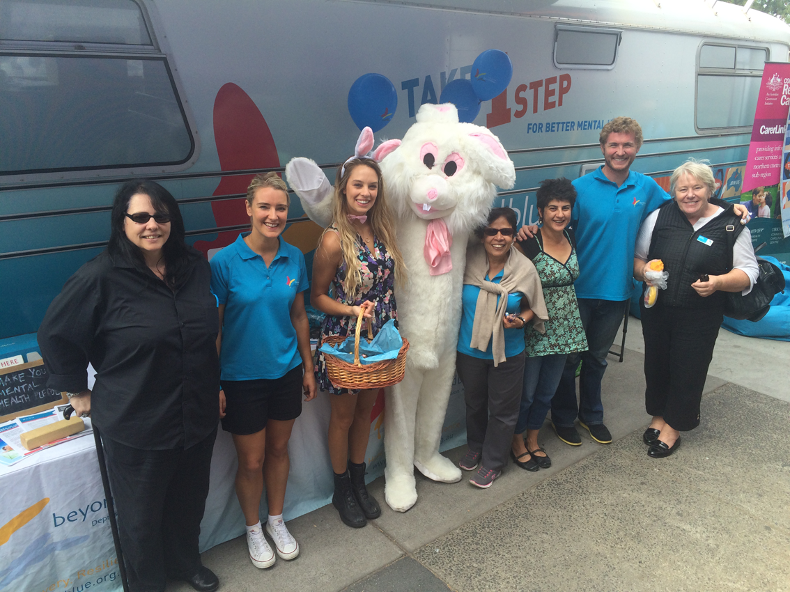 The Easter bunny was among the visitors to the bus at Preston Market.