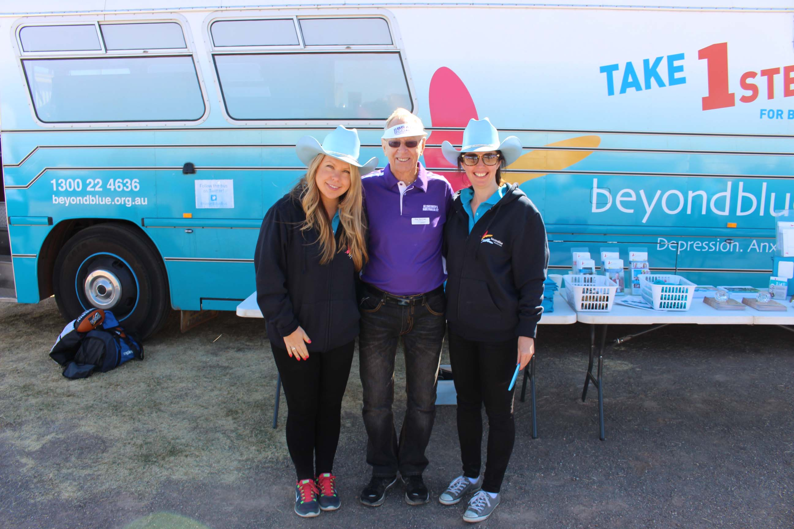 CEO of Alzheimer's Australia NT Ray Norman came to check out the bus at the Tennant Creek Show.