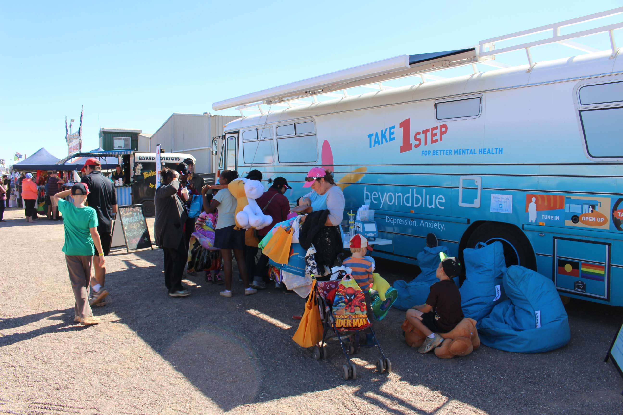 The Beyond Blue showbags were a hit at the Tennant Creek Show.