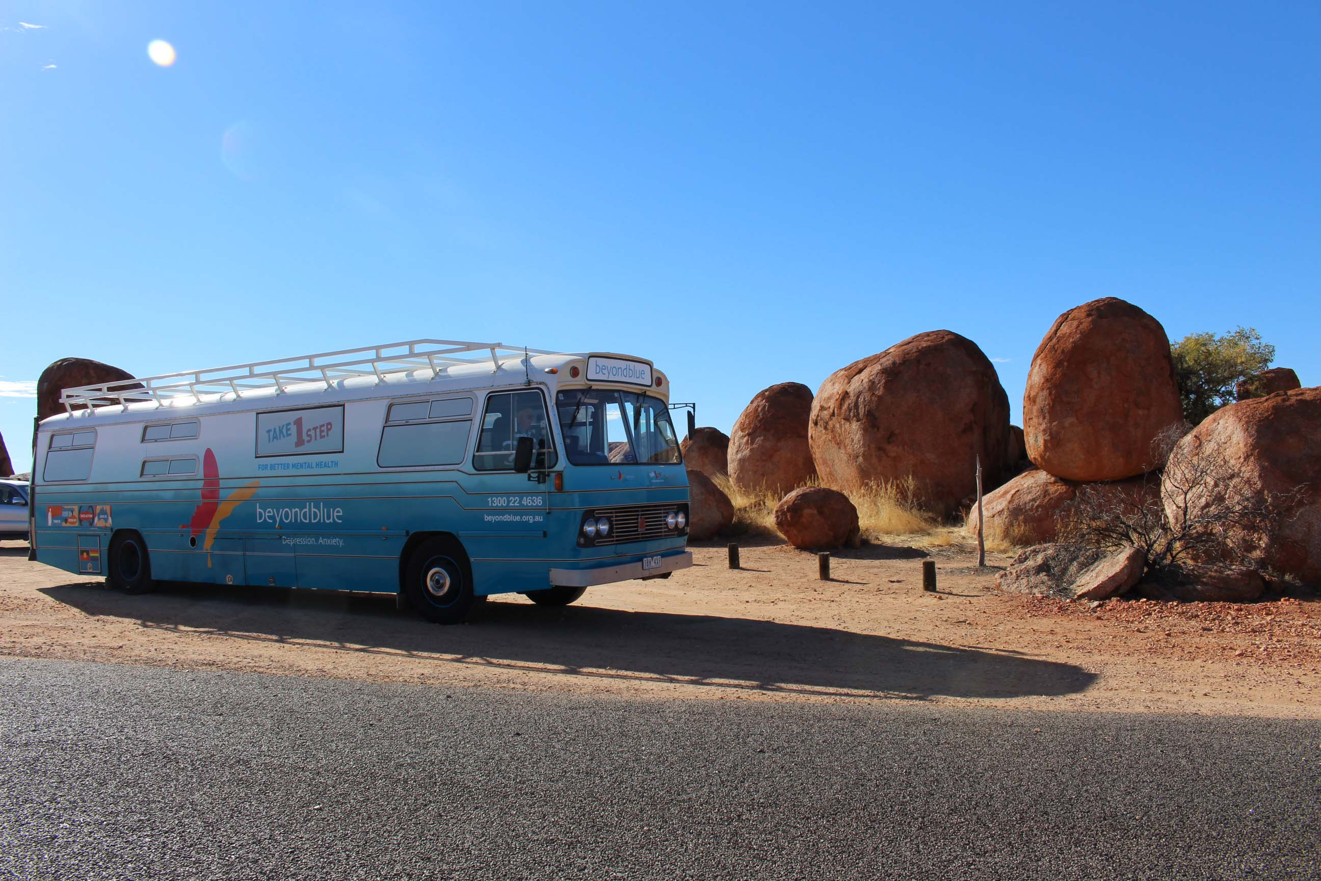 The bus pulled in to meet the Devil's Marbles on the road to Alice Springs.