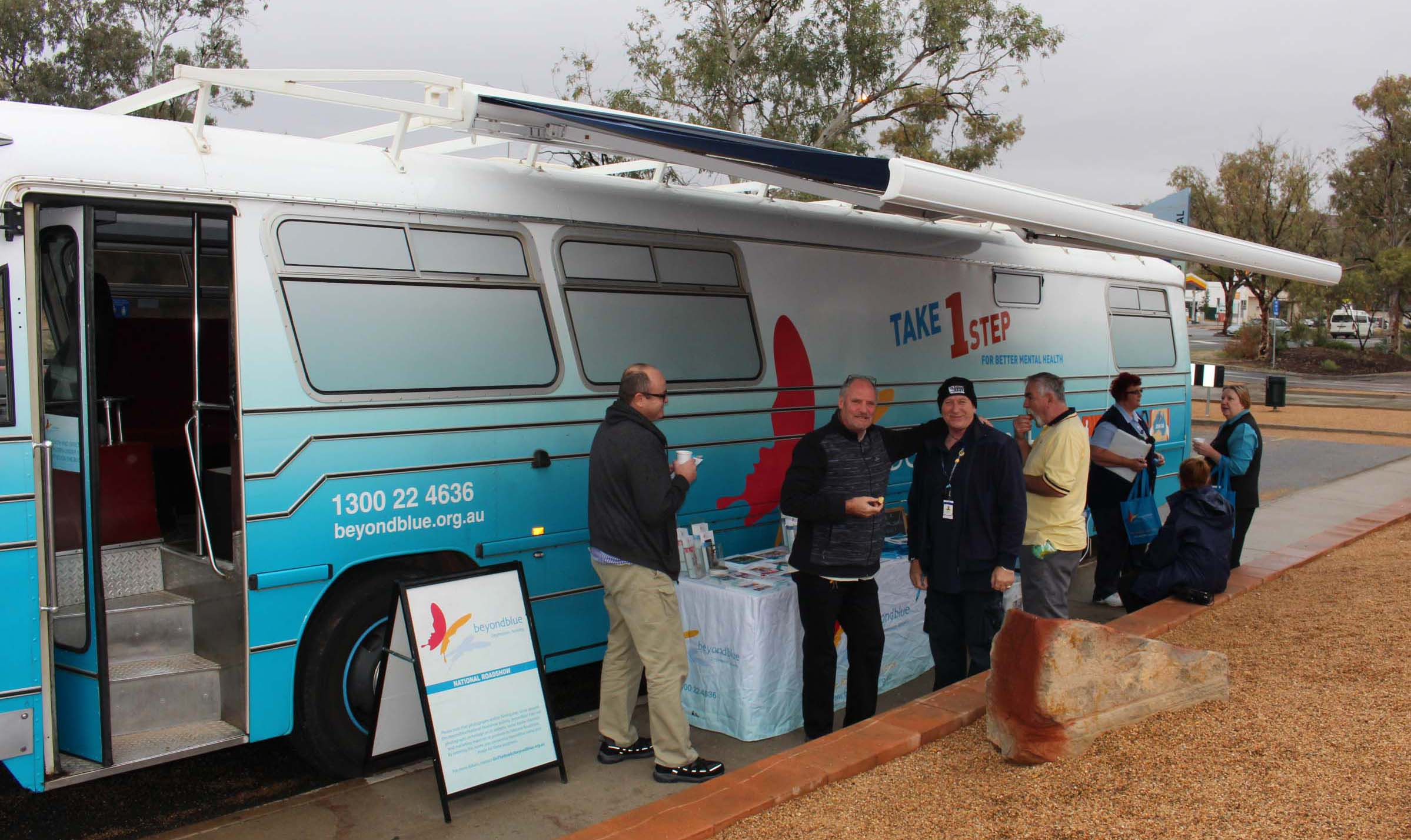 Staff, visitors and patients from Alice Springs Hospital popped out for a cup of tea and a chat.