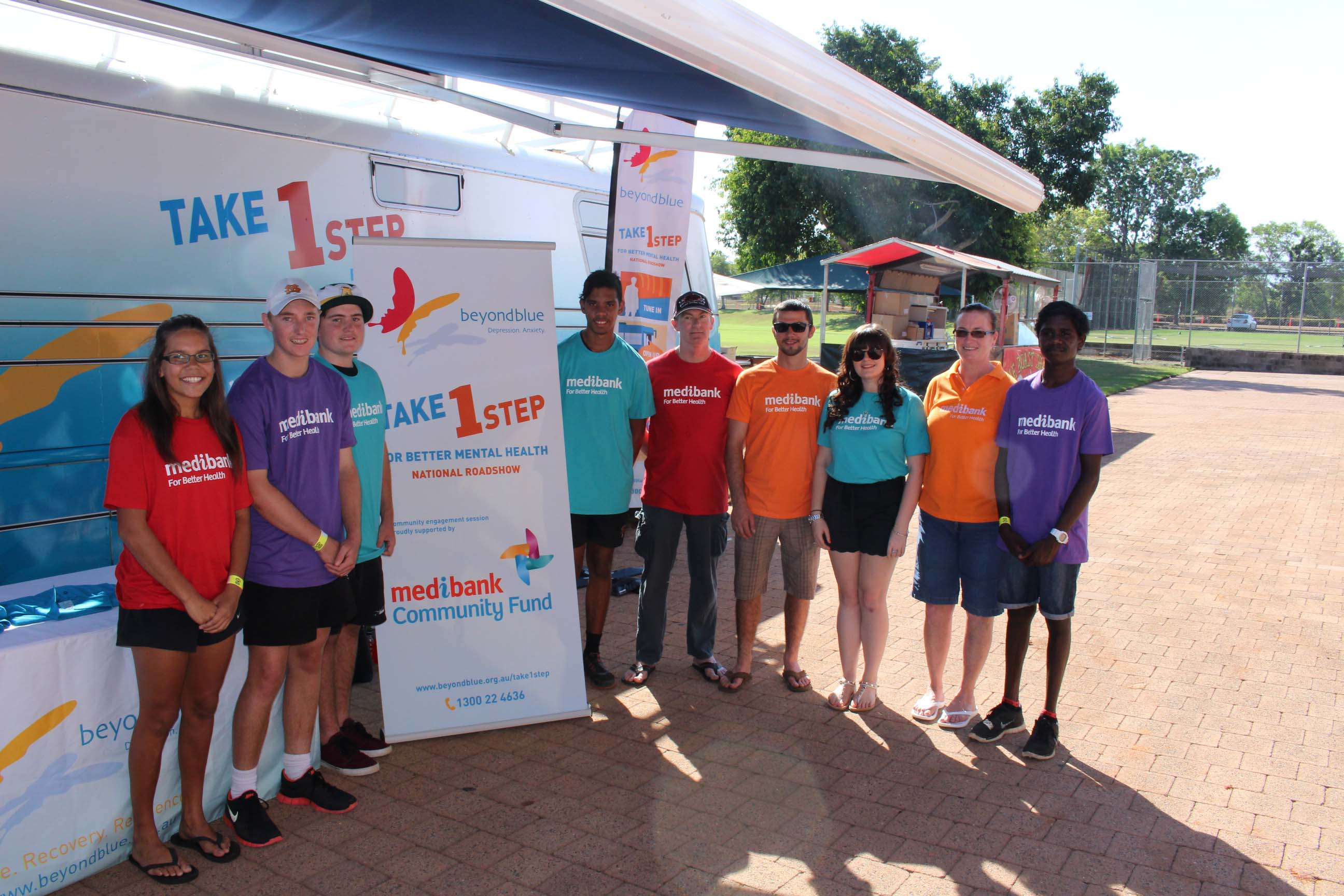 Staff from National Roadshow partner Medibank Community Fund attended the Beyond Blue NEAFL Cup in Darwin.