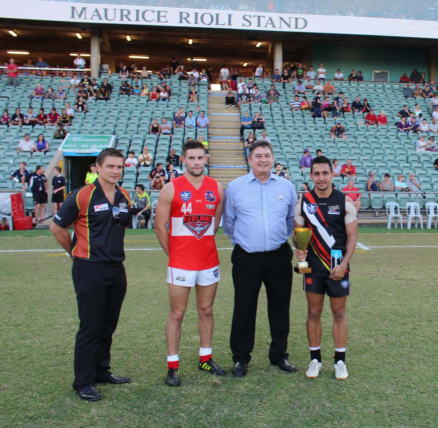 The NT Thunder were awarded the Beyond Blue NEAFL Cup after defeating the Redland Bombers at TIO stadium.