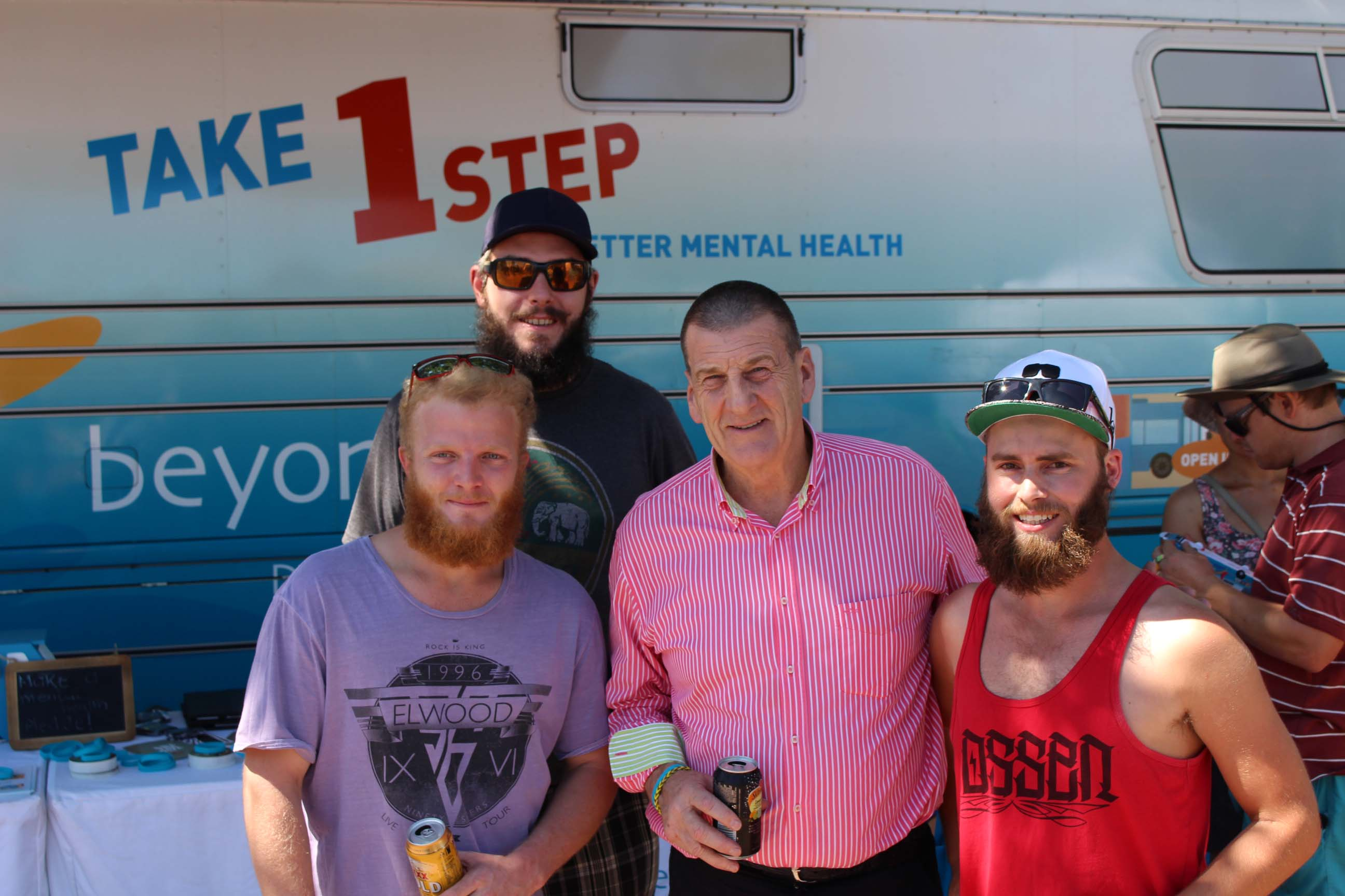 Beyond Blue Chairman Jeff Kennett met some of Darwin's Bearded Brotherz at the Beer Can Regatta. A group of 50 men are growing beards for 12 month to raise money for Beyond Blue.