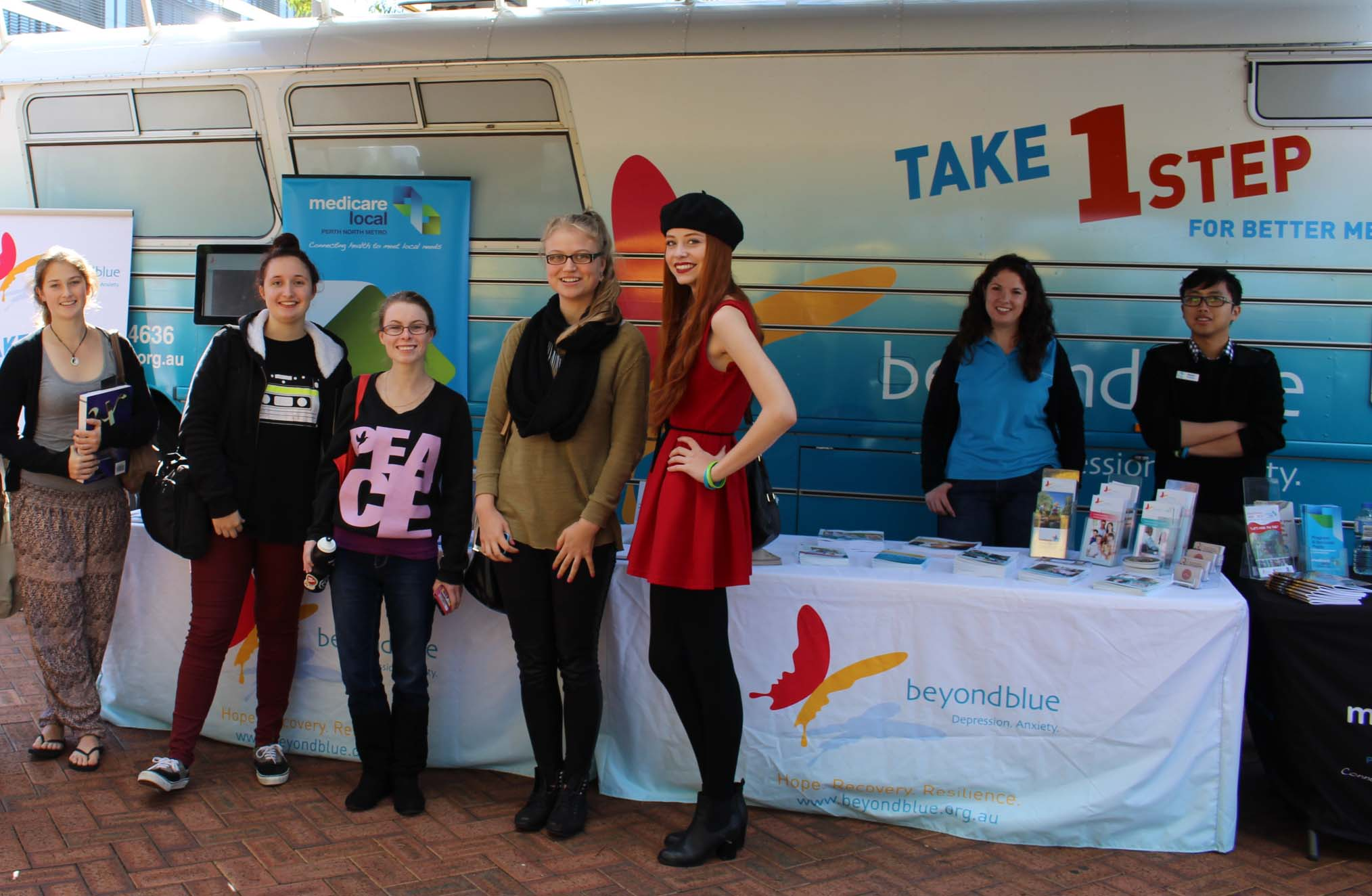 Edith Cowan Uni students visited the bus during its campus stop.