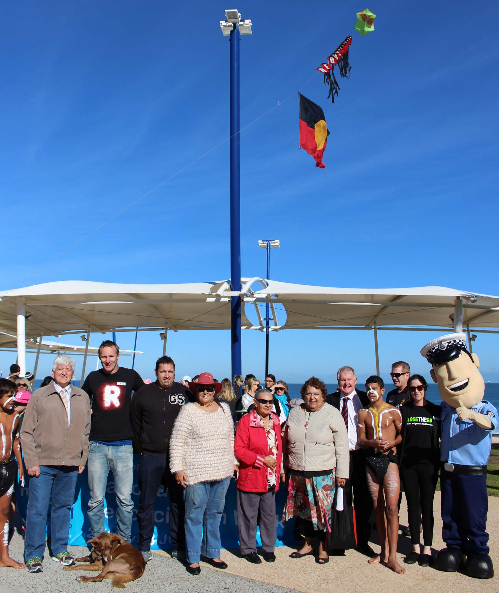 Local Elders and Reconciliation Week supporters gather before the walk in Scarborough.