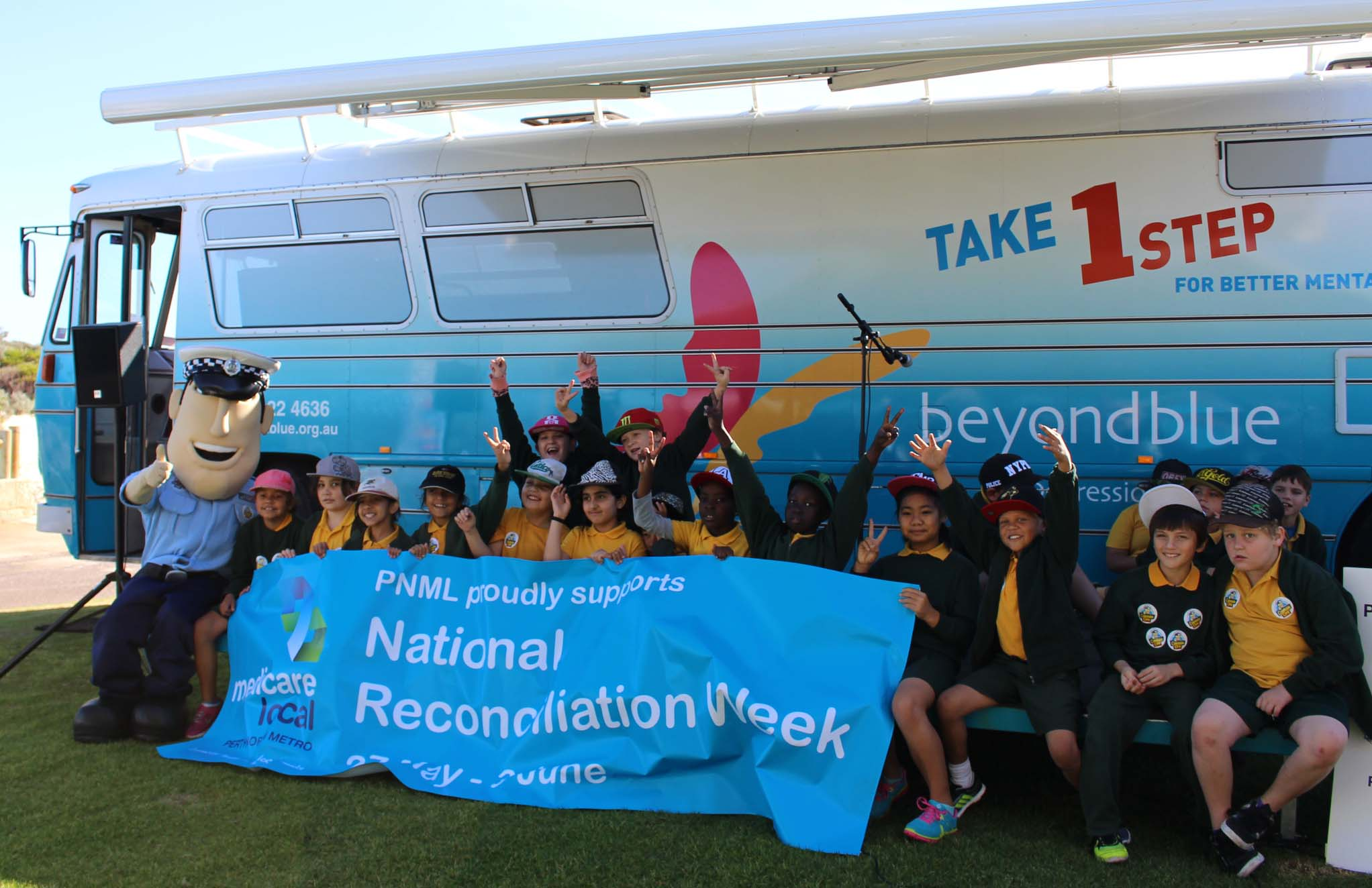 School kids with Constable Care at the Reconciliation Week event in Scarborough.