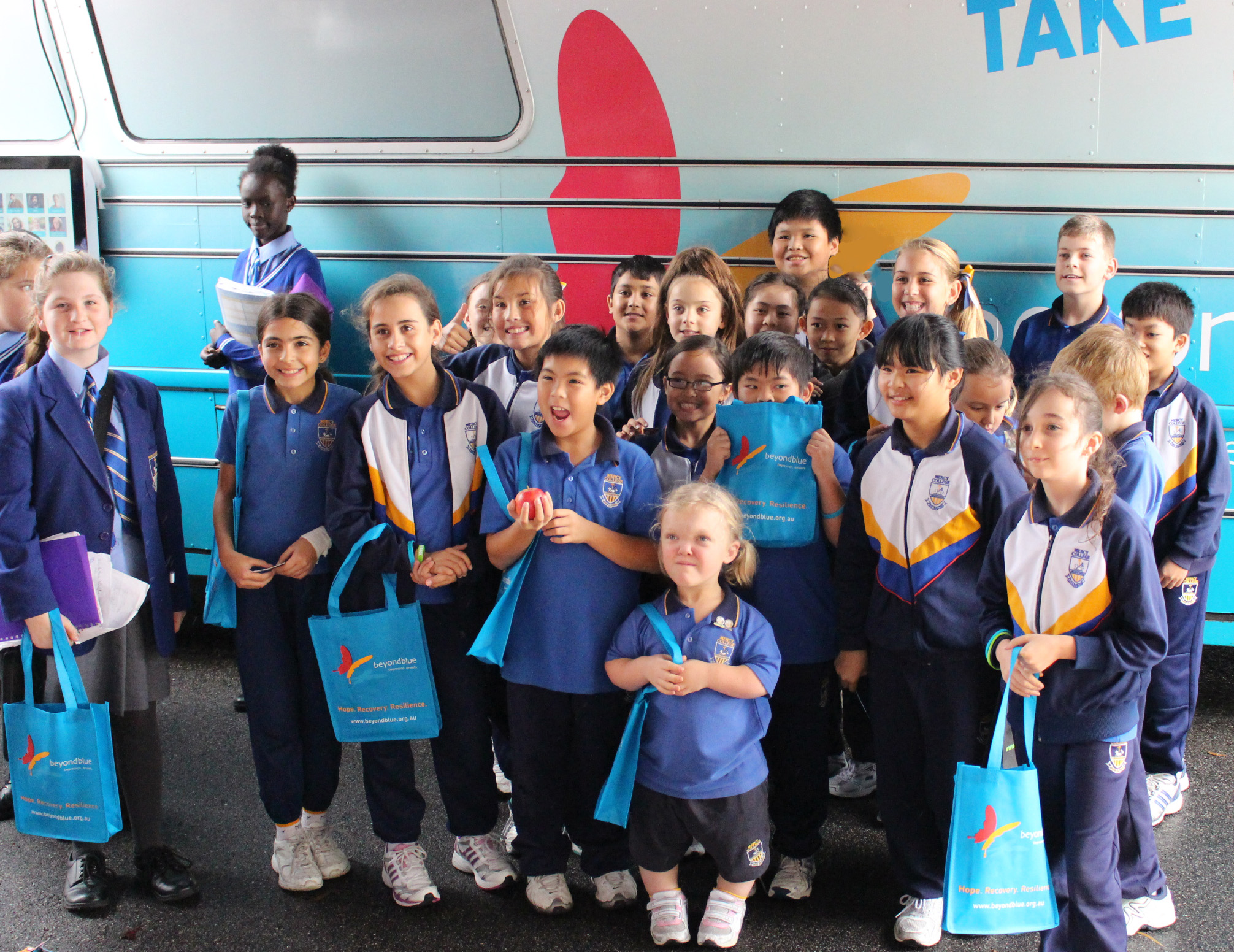 Students at Mercy College were impressed by the big blue bus.