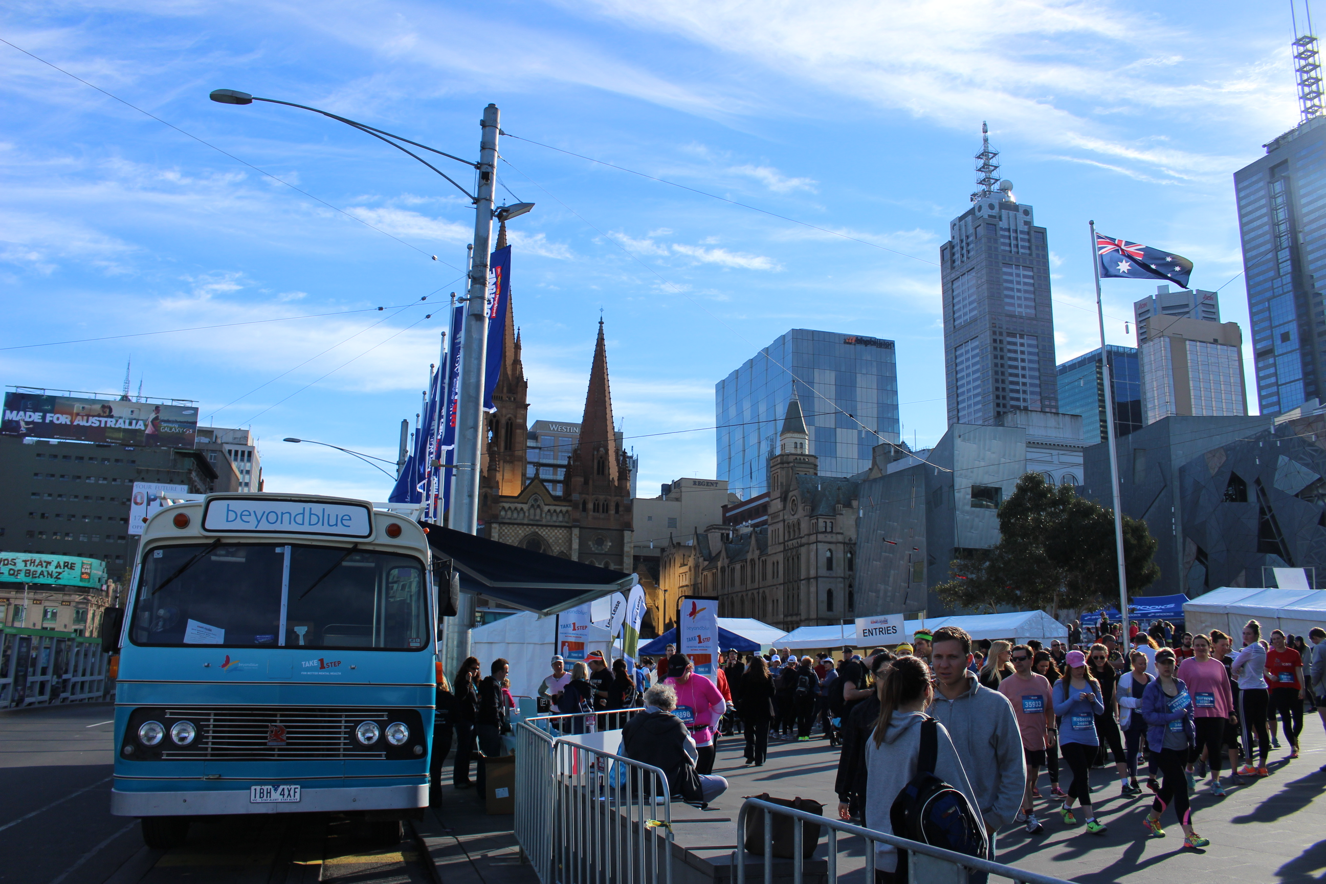 The big blue bus greeted a large crowd at Federation Square.
