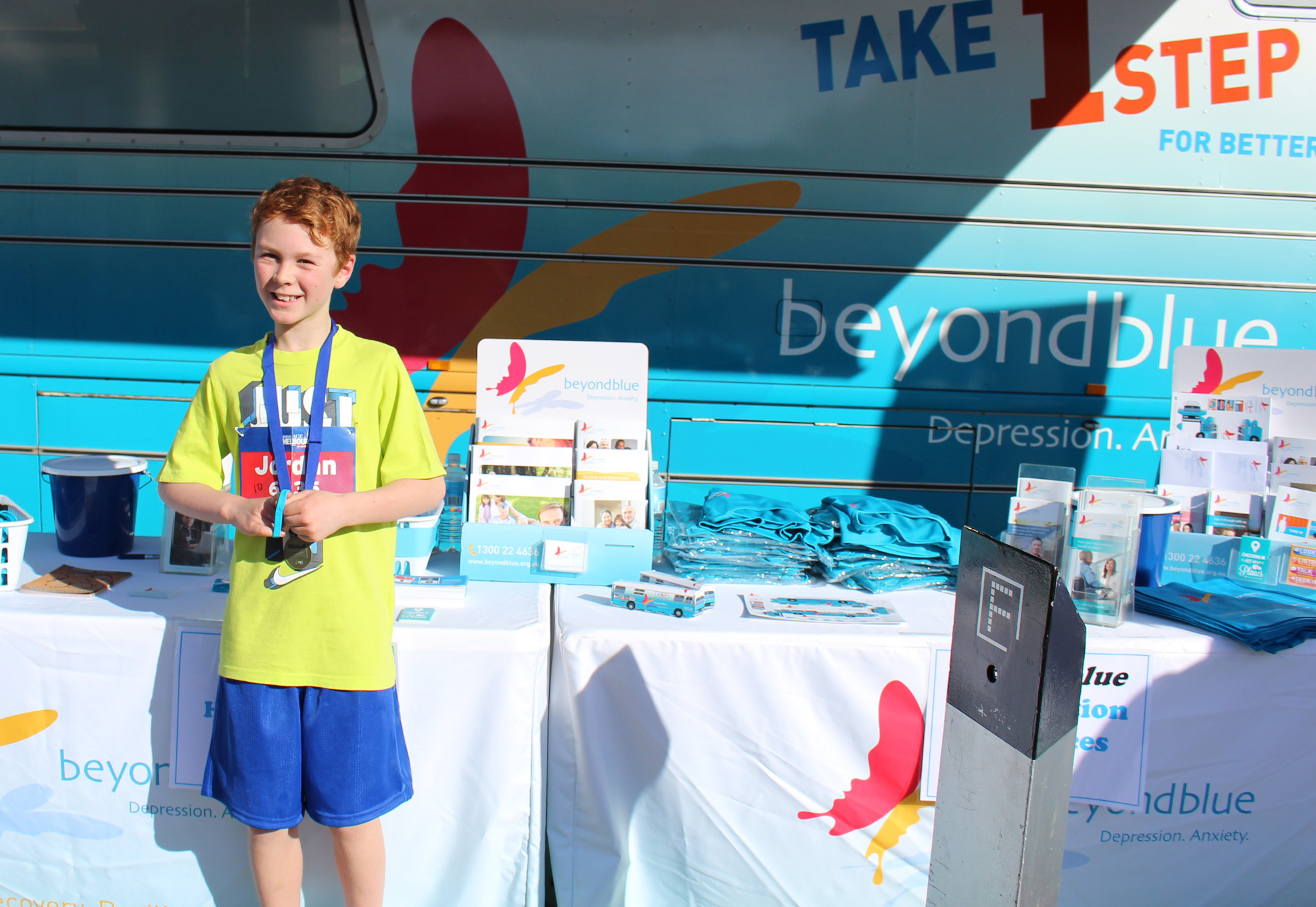 10-year-old Jordan ran the 10km race and raised $600 for Beyond Blue!
