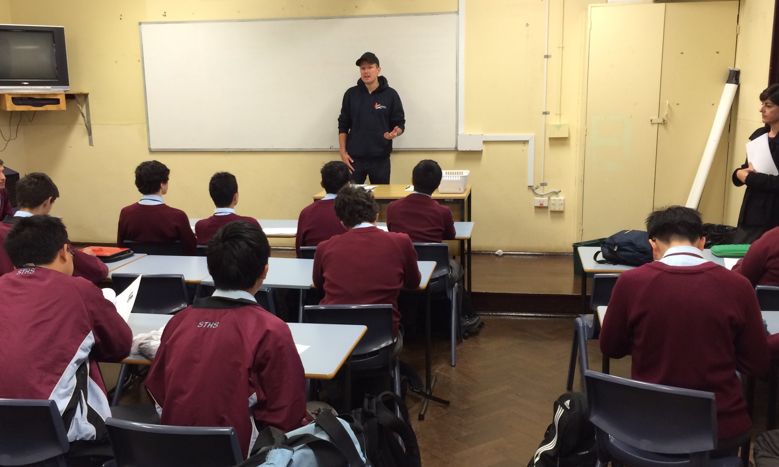 Talking to students at Sydney Technical High School.