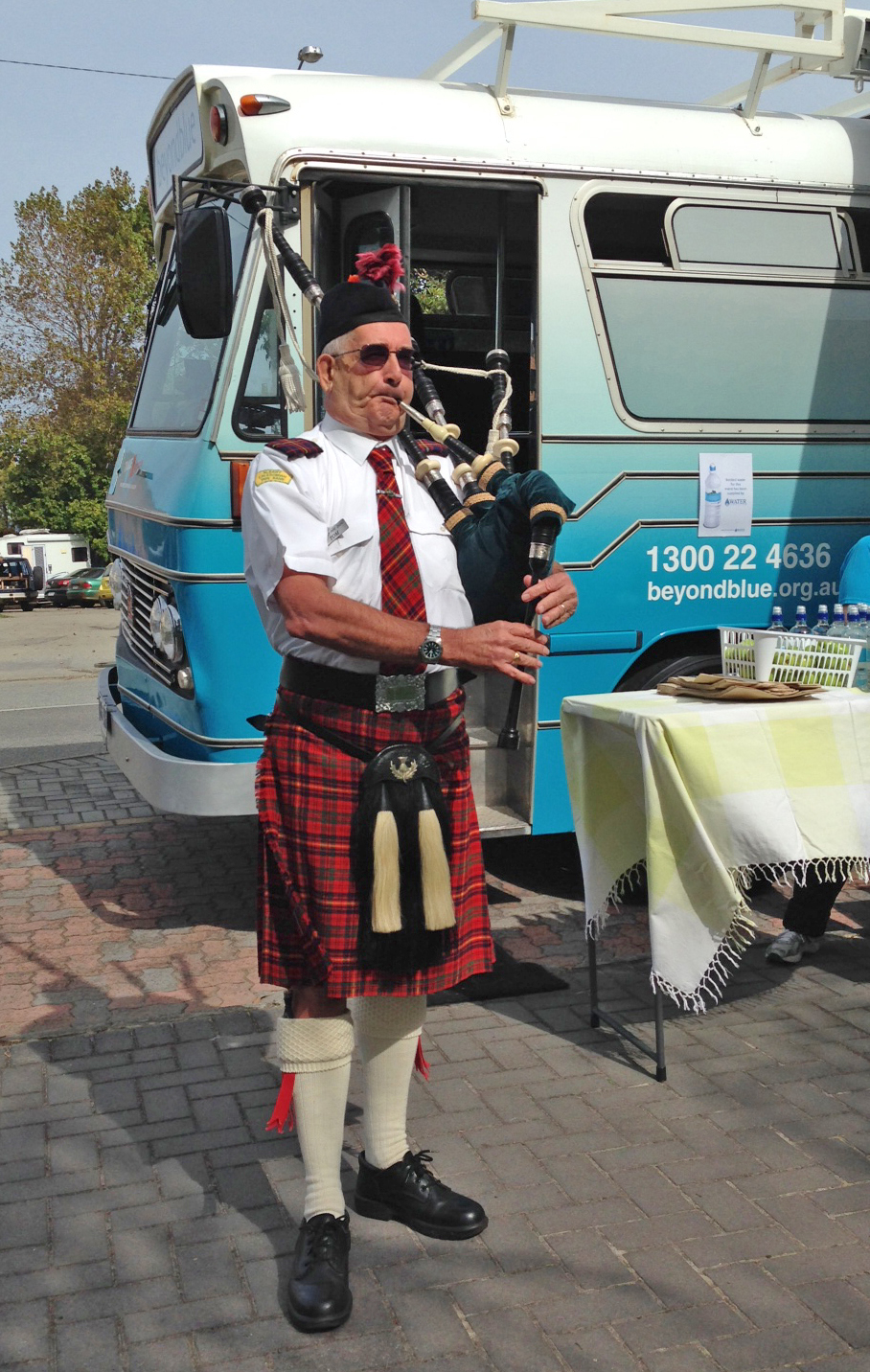 Tom the Piper played a beautiful tune ahead of the Kapyong Day Memorial Service in Albany.
