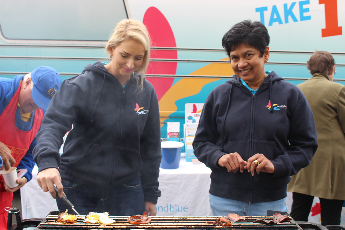 Beyond Blue's Liz and Sue keep an eye on the barbecue in Williamstown.