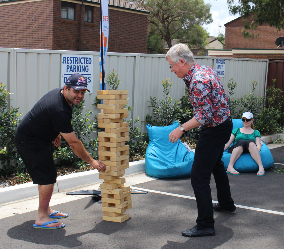 Giant jenga challenge in Campbelltown.