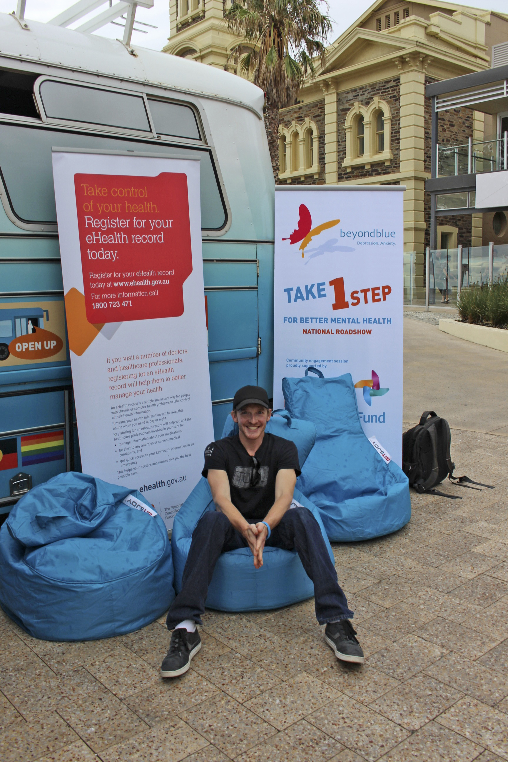 Rhys McGill - just returned from climbing Mount Kilimanjaro to raise money for Beyond Blue - dropped by the bus in Glenelg.