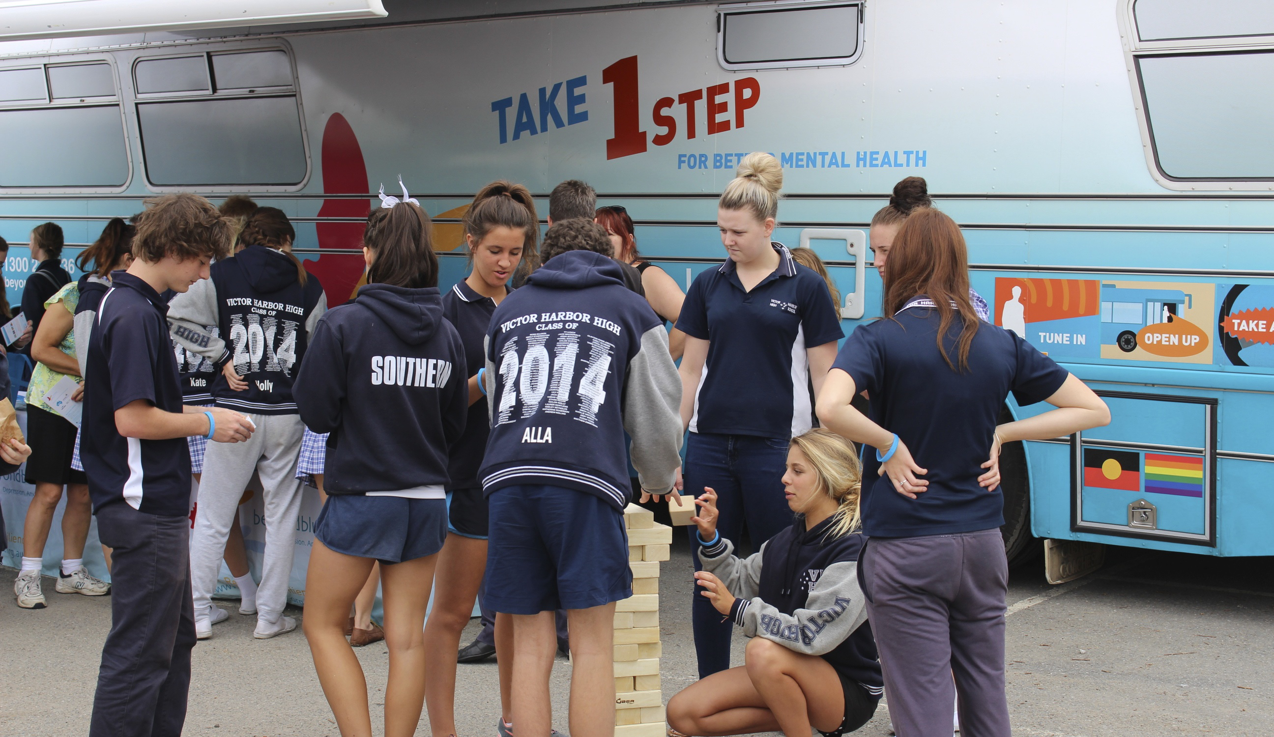 Jenga challenge with students in Victor Harbor.