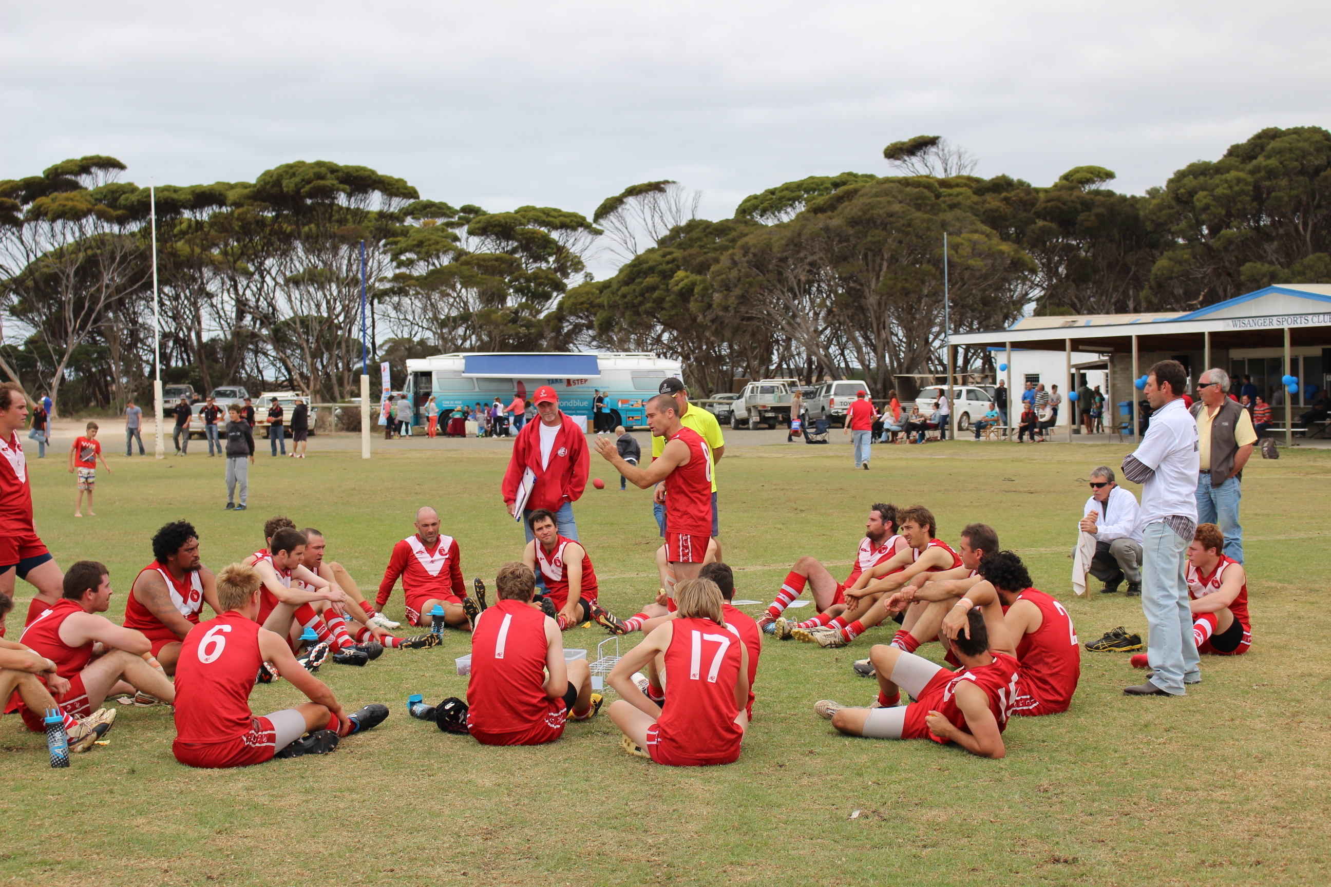 The bus in the backdrop at Kangaroo Island footy.
