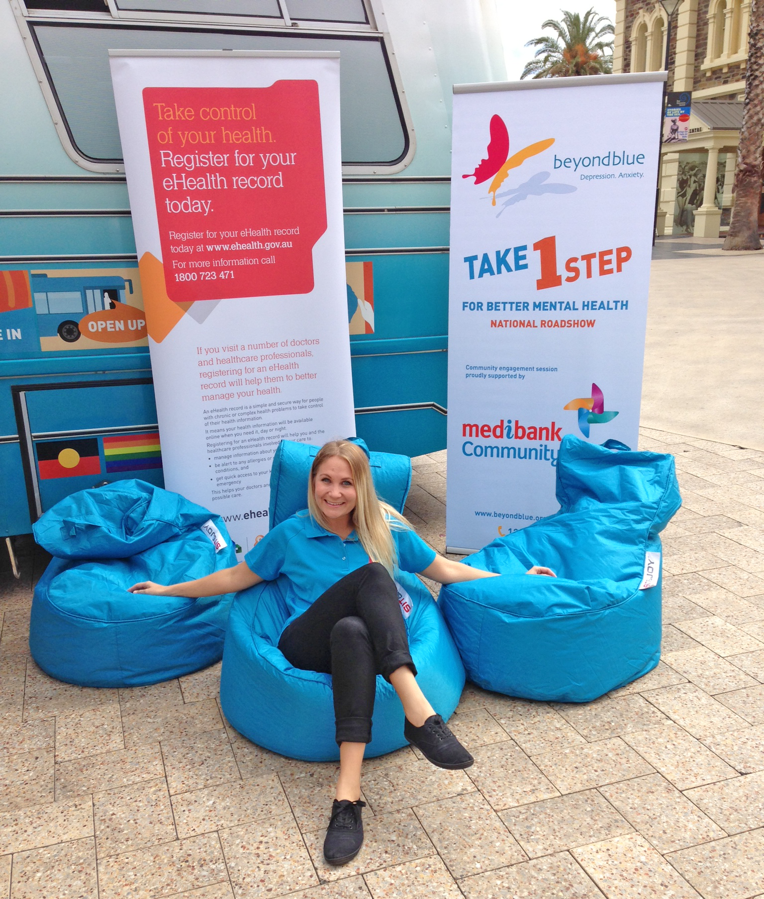 Beyond Blue youth Ambassador Leesa Scanlan takes a load off in Glenelg.