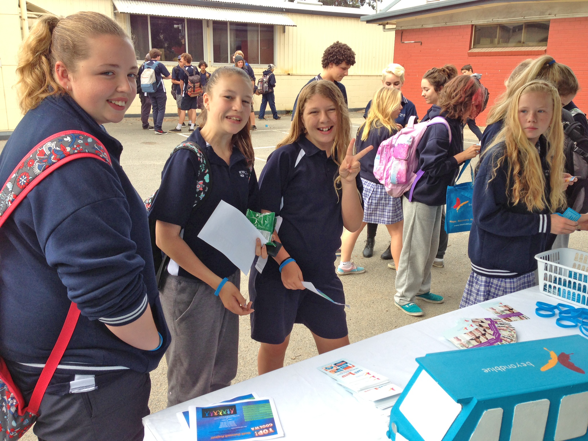 Students check out the Beyond Blue materials on offer.