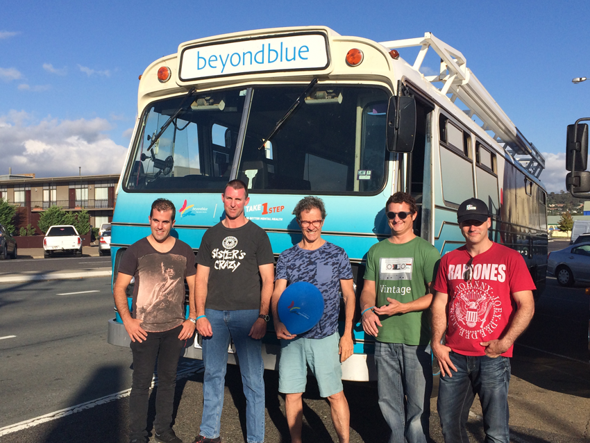 Beyond Blue Ambassador Mark Gable (centre) and local musicians before the Goulburn Rocks for Charity gig.