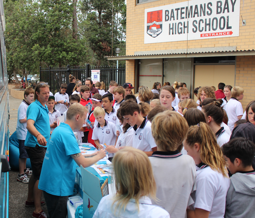 Checking out the bus at Batemans Bay High School.