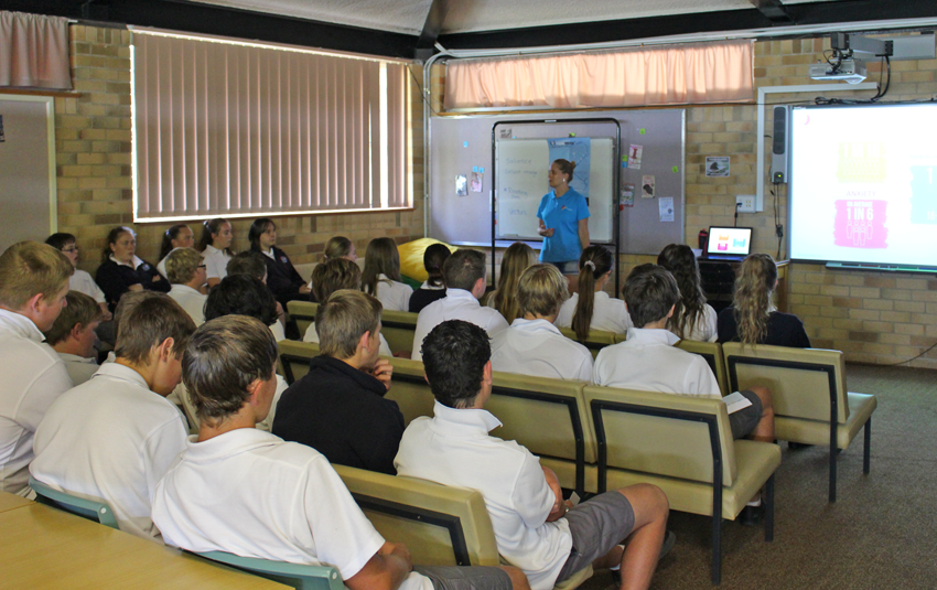 Presenting to students at Crookwell High School.